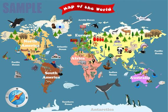 Personalized Laminated World Map For Kids Lets Explore