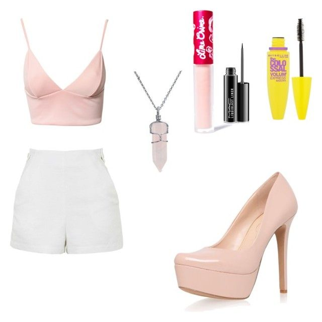 """""""Sin título #62"""" by mxriia on Polyvore featuring moda, Dark Pink, Jessica Simpson, Topshop, Bling Jewelry, Lime Crime, MAC Cosmetics y Maybelline"""