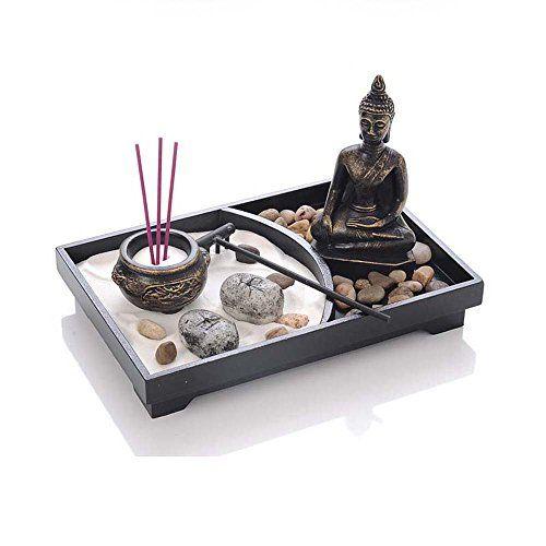 Jardin zen m ditation statue de bouddha sable r teau de roche br le encens d coration zen - Rateau jardin zen ...