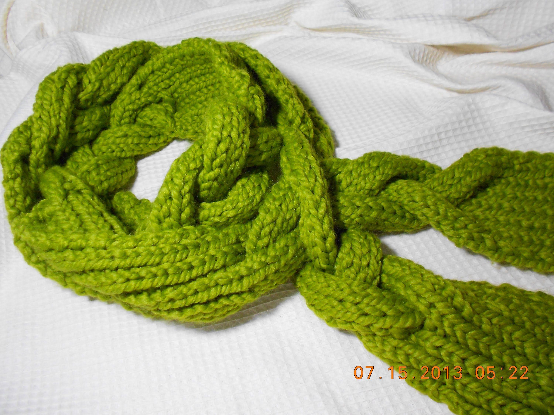 BUFANDA EN TRENZA con agujas punto elastico | All wool | Pinterest ...