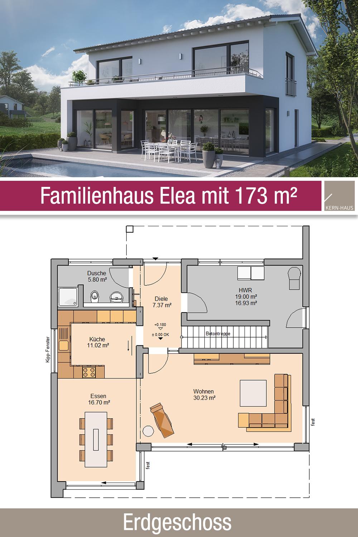 Familienhaus Grundriss 173 m² 4 Zimmer Erdgeschoss