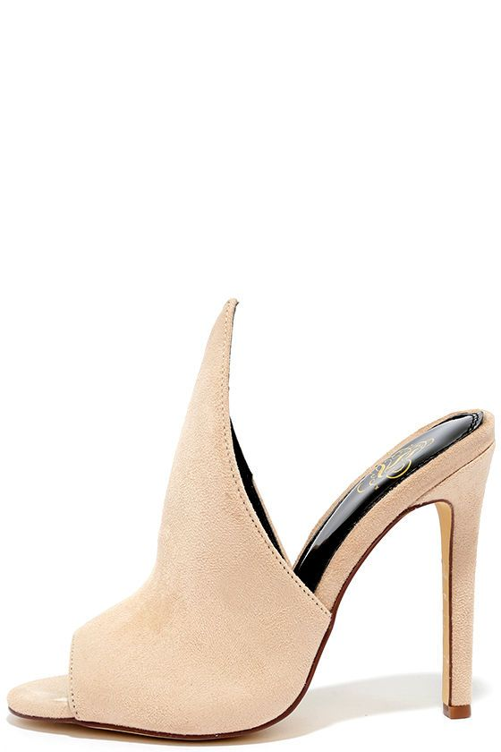 3b5f810e6070 Your first encounter with the Point of Contact Nude Suede Peep Toe Mules  will be unforgettable! From a peep toe