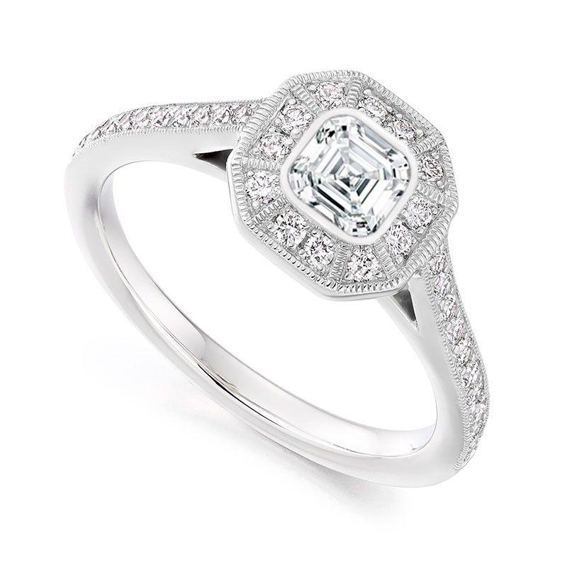 Platinum 061ct Asscher Diamond With Halo Surround Engagement Ring