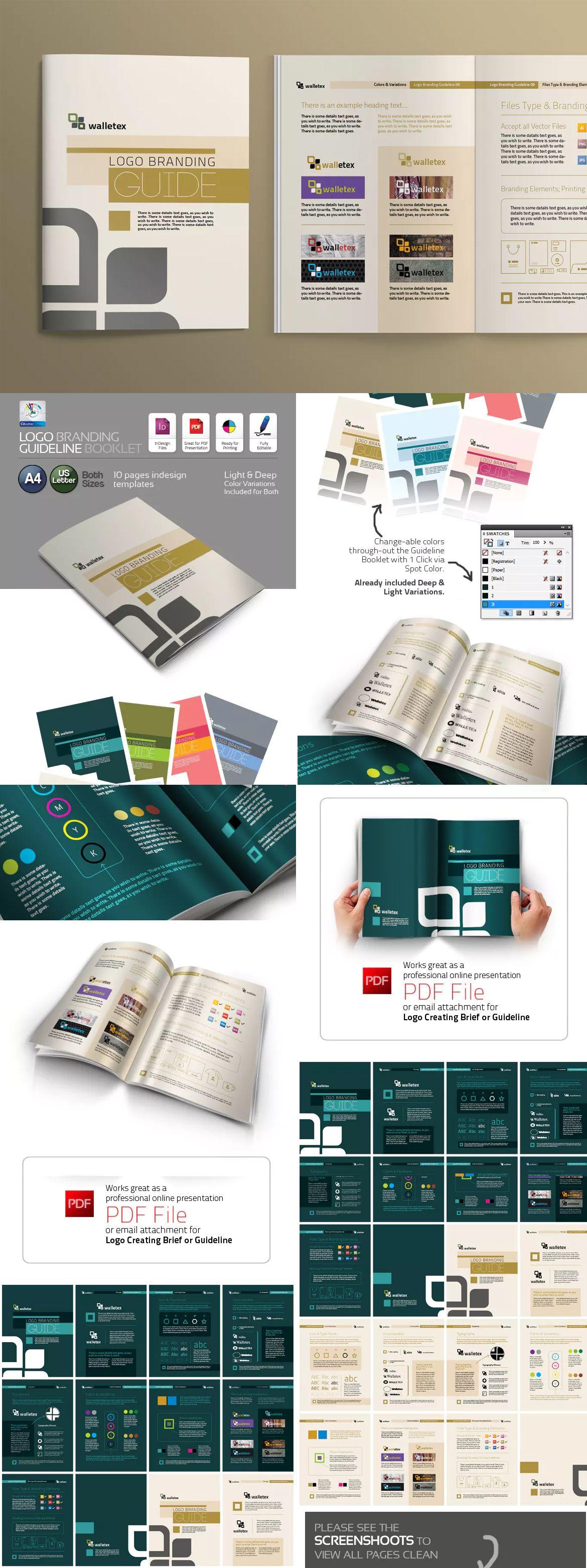 Clean & Creative Logo Branding Guideline Booklet InDesign