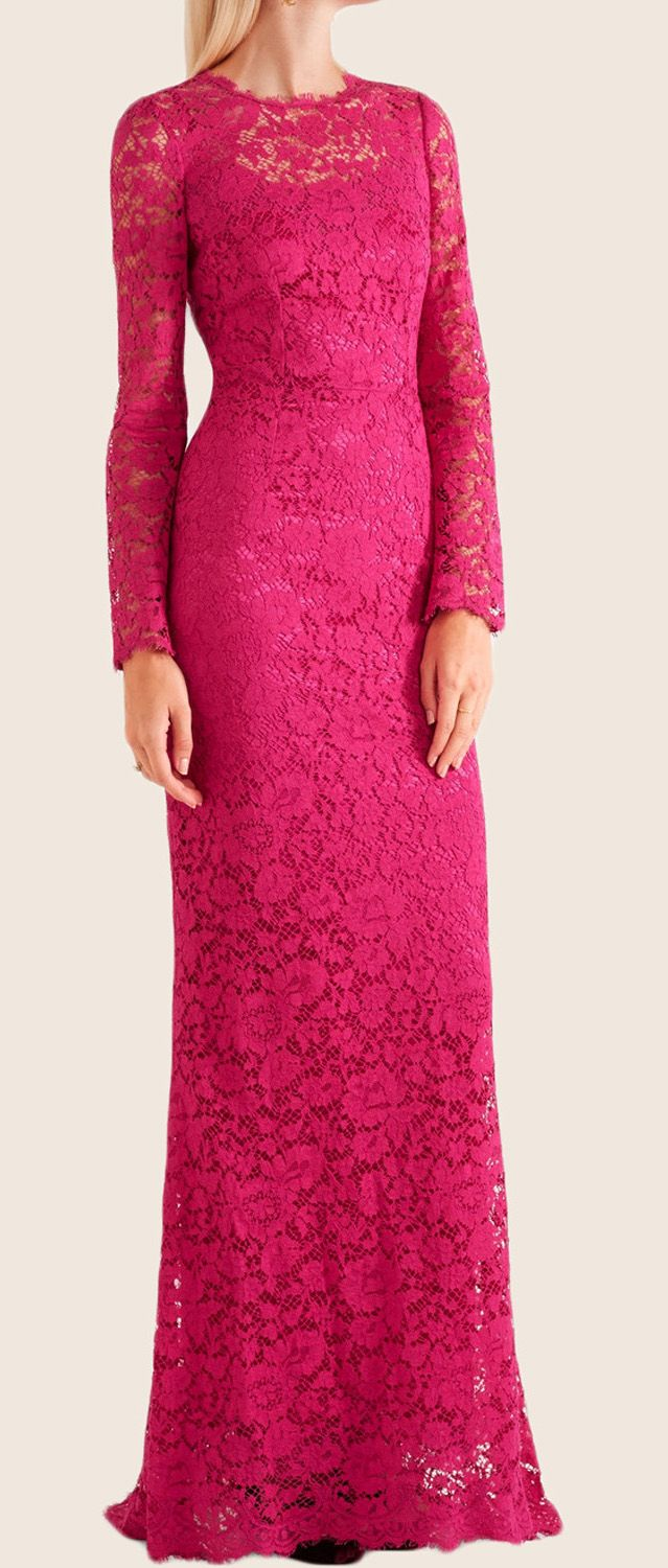 MACloth Long Sleeves Lace Maxi Formal Evening Gown Fuchsia ...