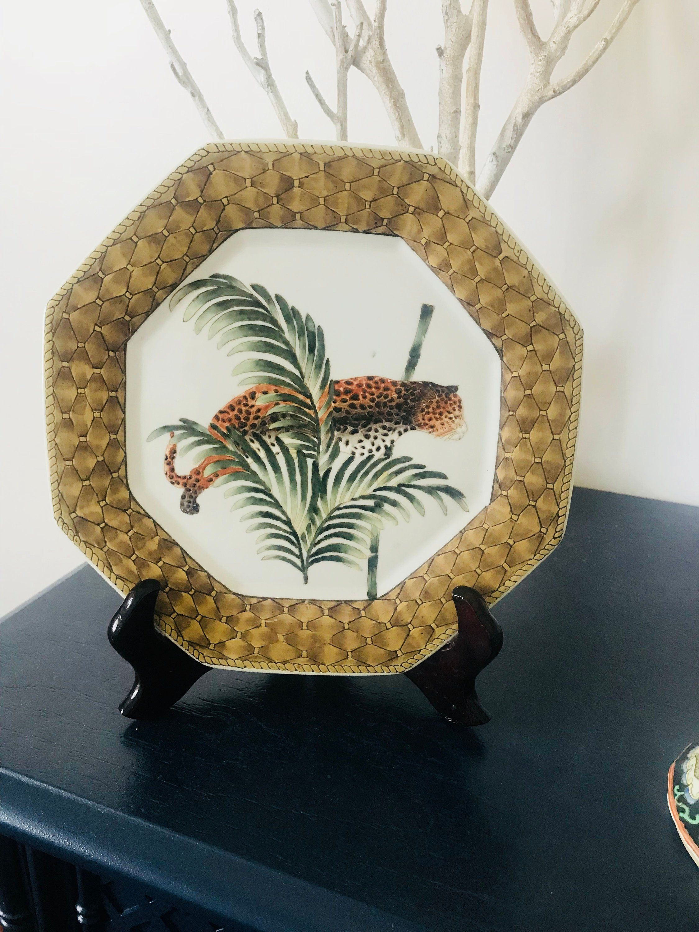 Asian Decorative Plate Chinoiserie Style Leopard Bamboo Palm
