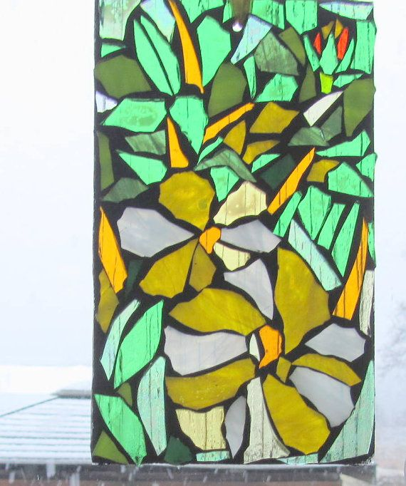 Yellow Flowers    Stained Glass SunCatcher or wall by HildeMosaics, $25.00