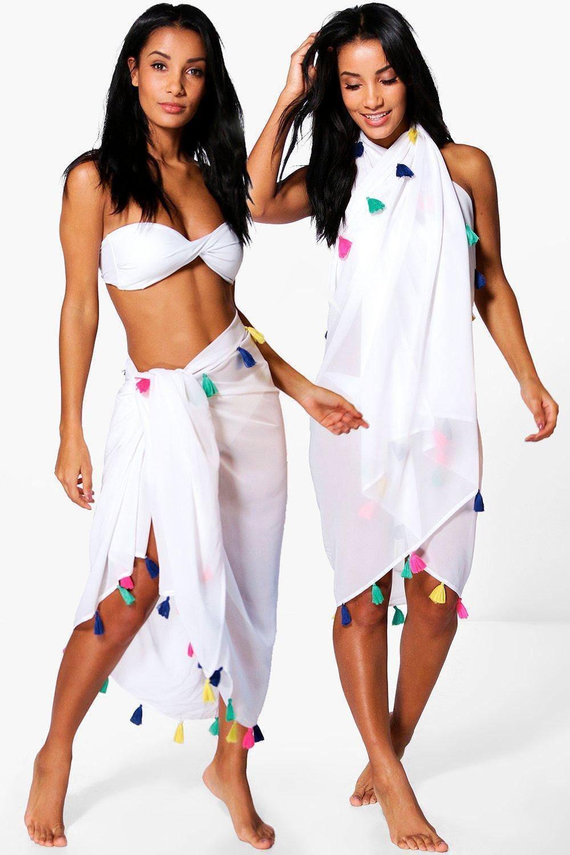 d5f73031c857 4.0 GBP - Boohoo Womens Emma Tassel Multi Way Beach Sarong In White Size  One Size #ebay #Fashion
