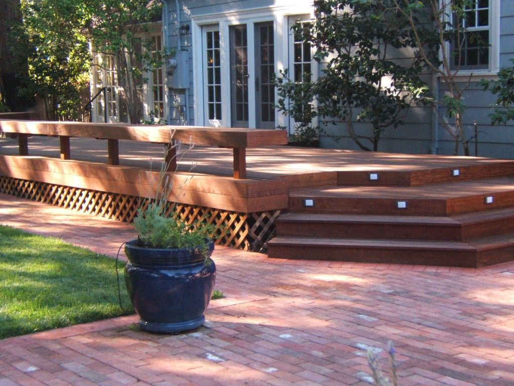 Deck And Patio Design Ideas 1000 images about decks on pinterest deck design hot tubs and hot tub deck Design Ideas Deck And Patio Ideas Patio Brick Flooring Including Lattice