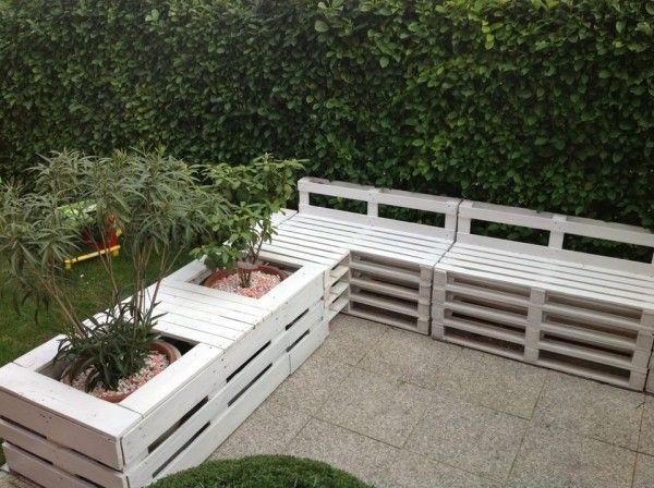 holz europaletten garten sitzbank pflanzer kombination | pallett, Hause und garten