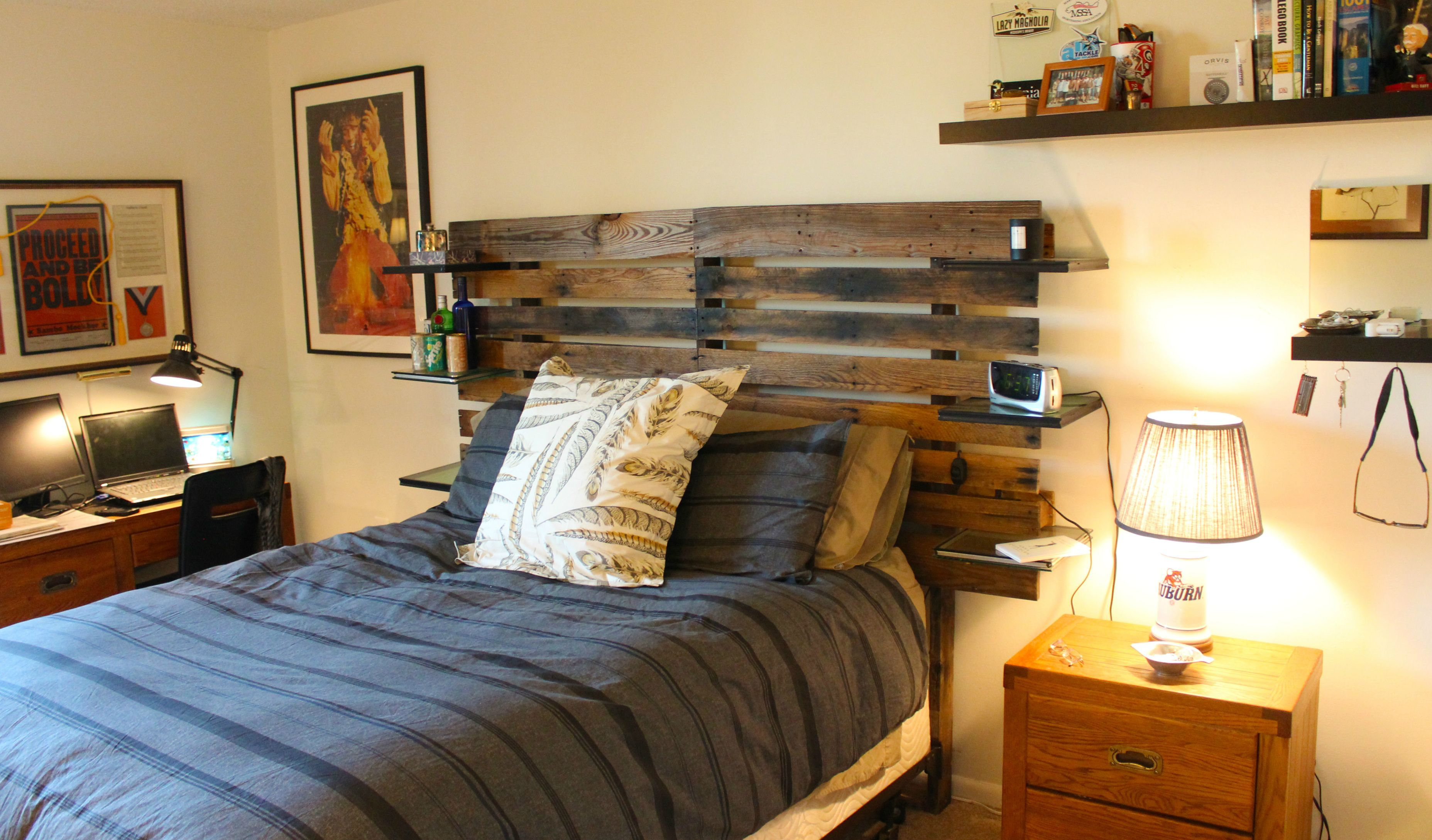 Built A Headboard For My Bed Out Of Reused Pallet Wood Led Lights And Architectural Glass Samples Pallet Wood Headboard Pallet Wood Headboard Diy Pallet Headboard