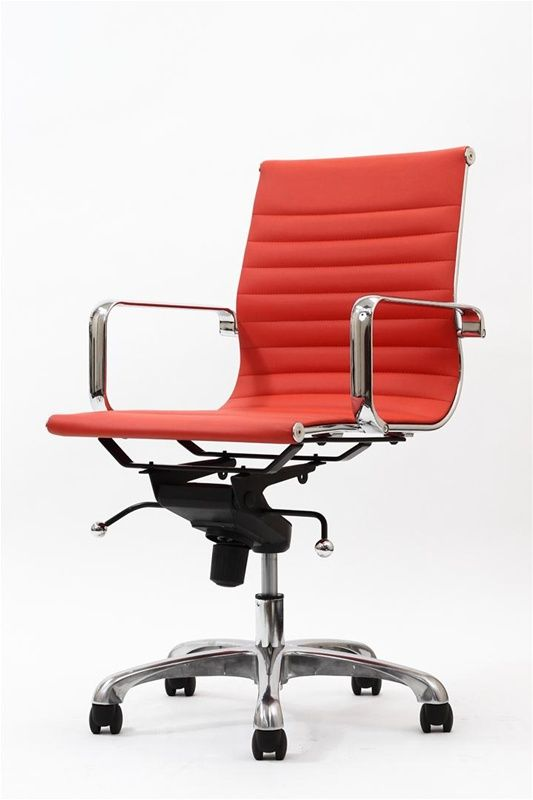 Sterling Mid Back Modern Office Chair This Modern Classic Is A Reproduction Of The Famous Aluminum Man Black Office Chair Vinyl Office Chair Red Office Chair