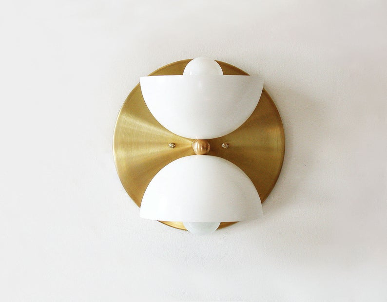 White And Gold Sconce Wall Light Modern White Sconce Vanity Etsy In 2020 Wall Lights Entry Lighting Hallway Lighting