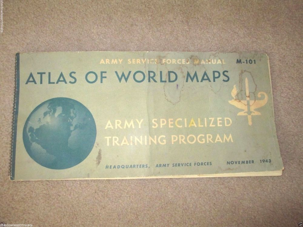 Army service forces manual atlas world maps book november 1943 m 101 antique atlas ebay gumiabroncs Gallery