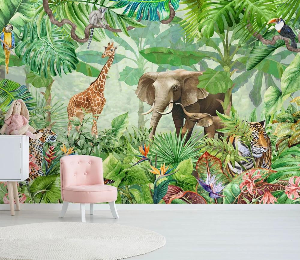 3D Tropical Rainforest Wild Animals 0652 Mural, Wall