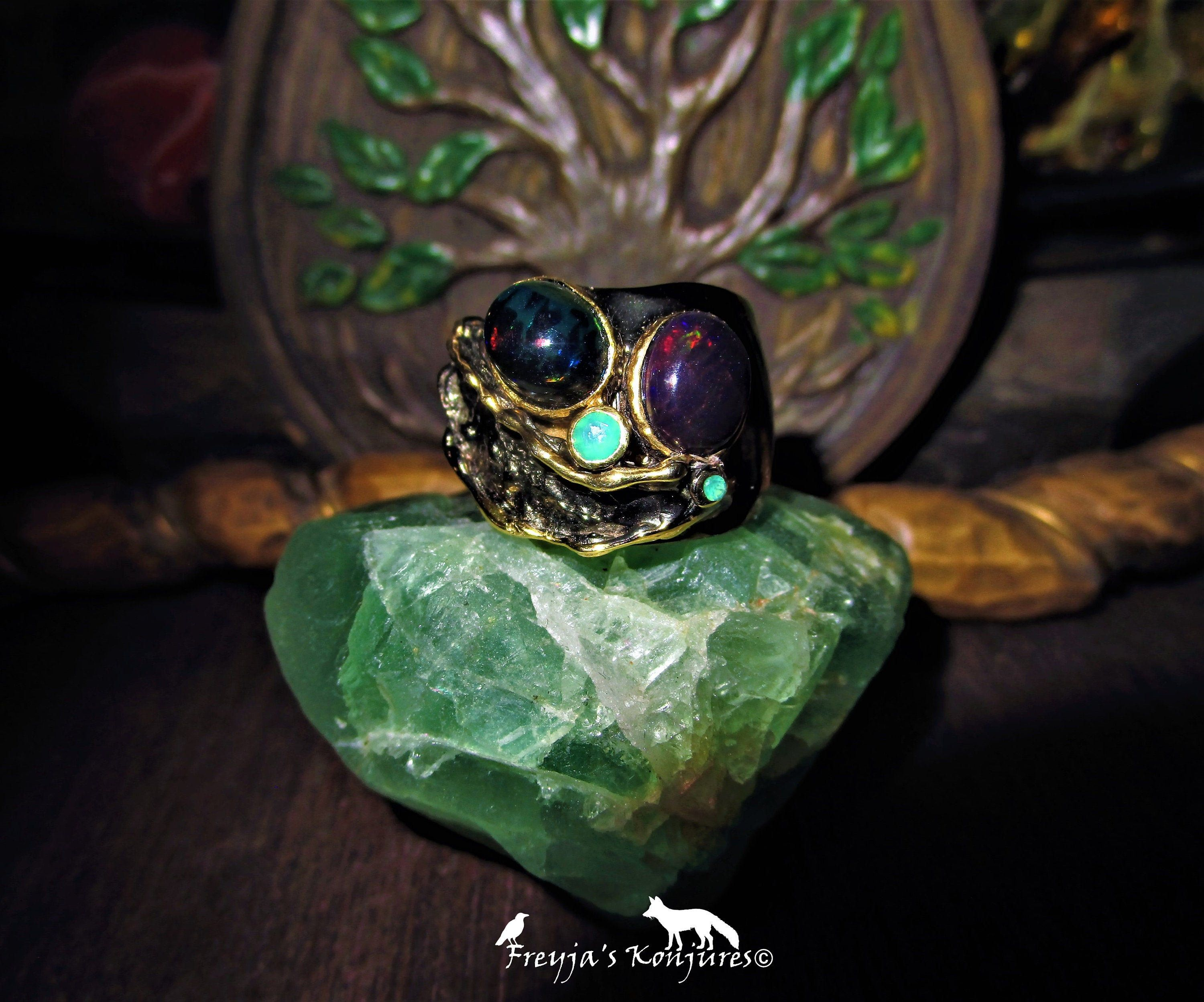 Australian Black Opal Statement Ring with Emerald Accents