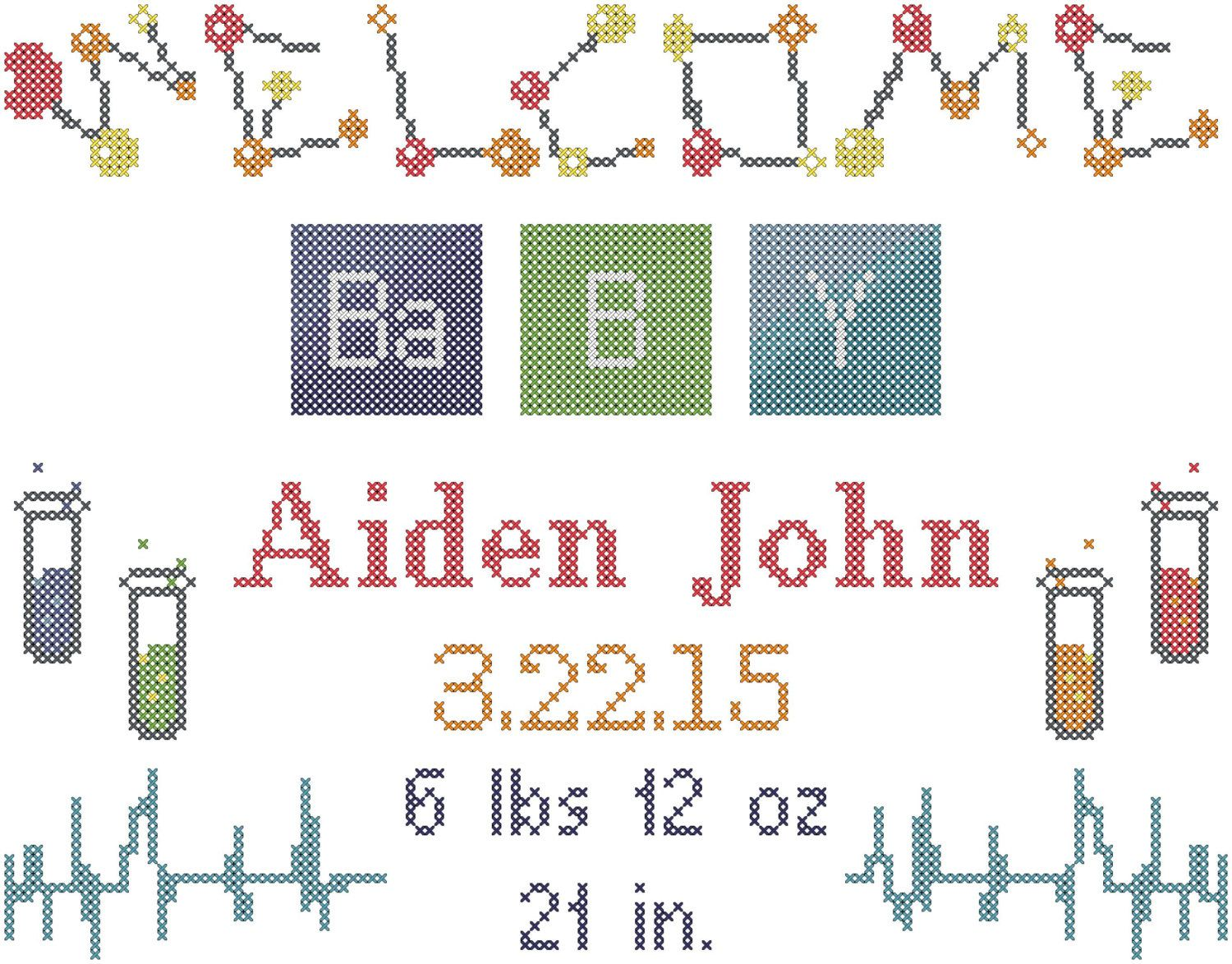 Cross stitch pattern baby birth record scientist test tubes cross stitch pattern baby birth record scientist test tubes periodic table letters atoms gamestrikefo Image collections