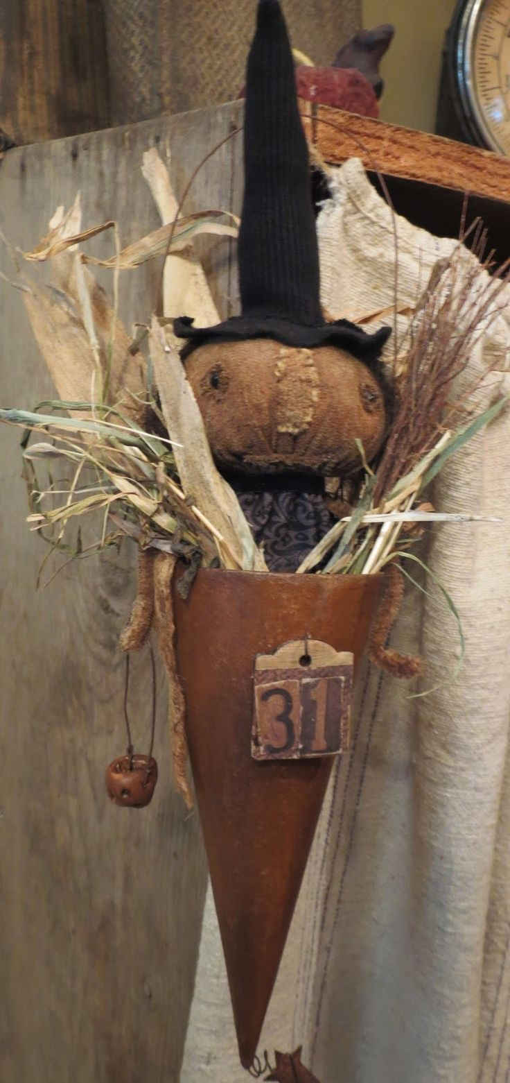 Image result for primitive halloween stick puppets Tussie Mussie - Primitive Halloween Decor