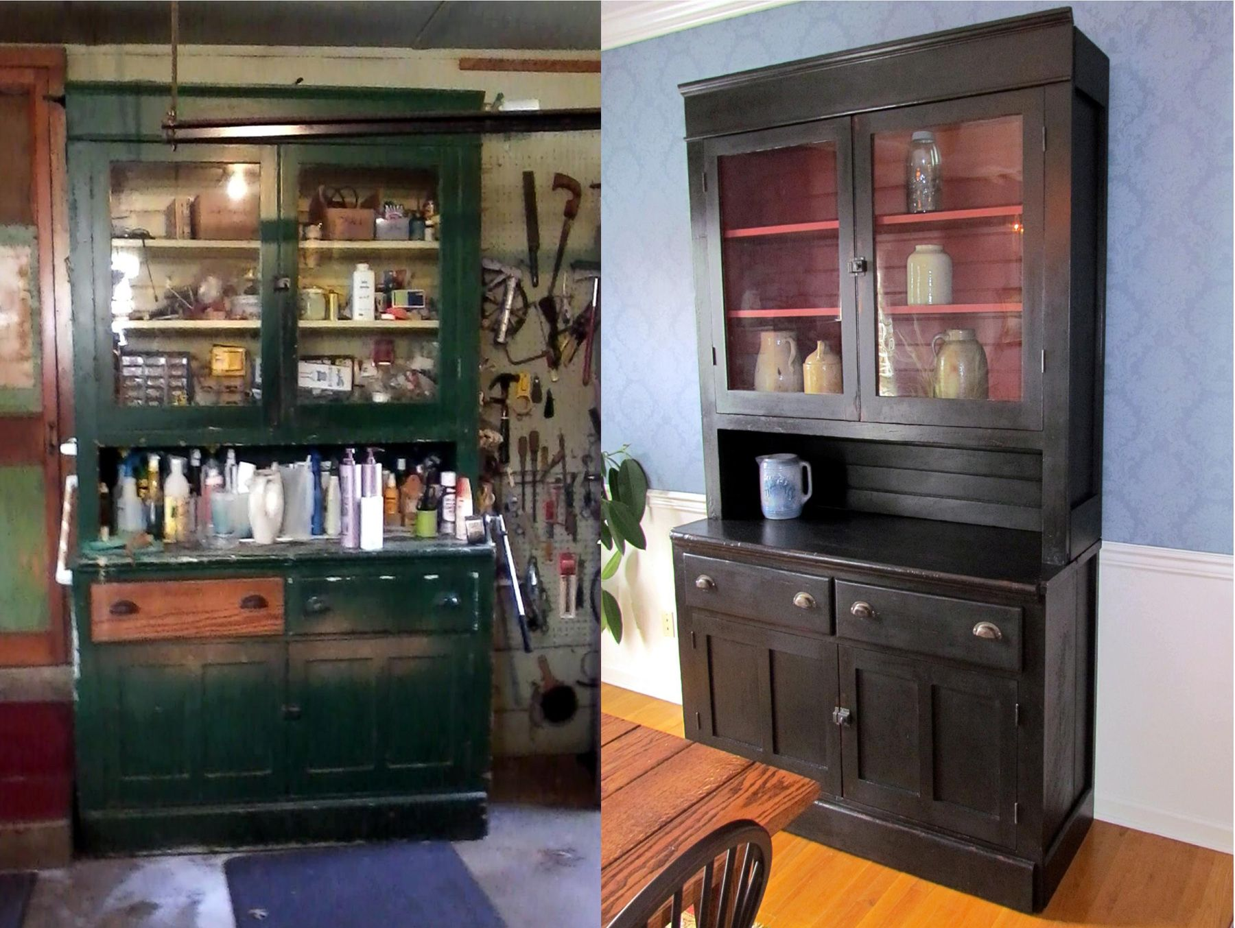 Black Chalk Painted Hutch