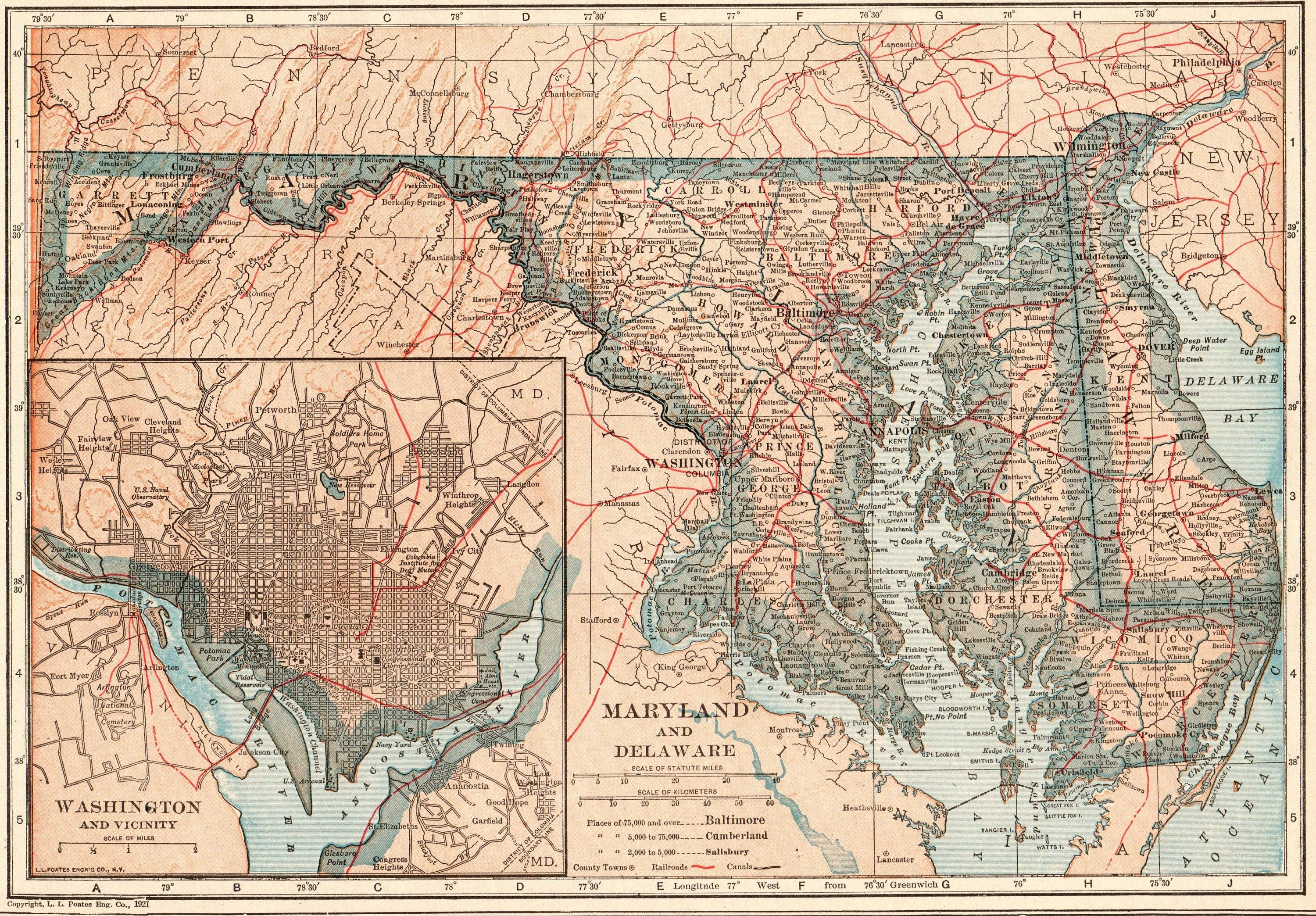 1924 Antique MARYLAND State Map DELAWARE State Map Vintage ...