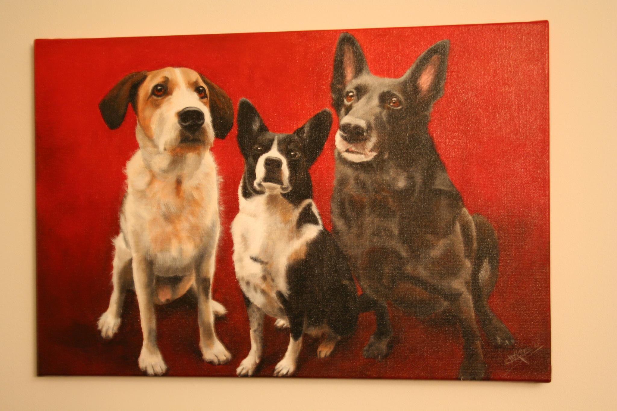 Schilderij van mijn honden gemaakt door karin kers beestjes
