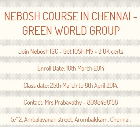 Green World Group Offers For Nebosh Igc Training In Chennai With