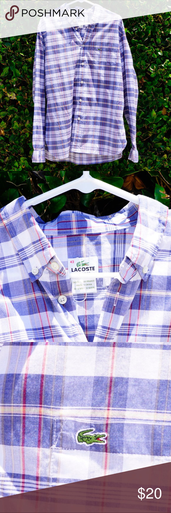 Green checkered dress shirt  Lacoste long sleeve blue checkers  Lacoste Dress shirts and