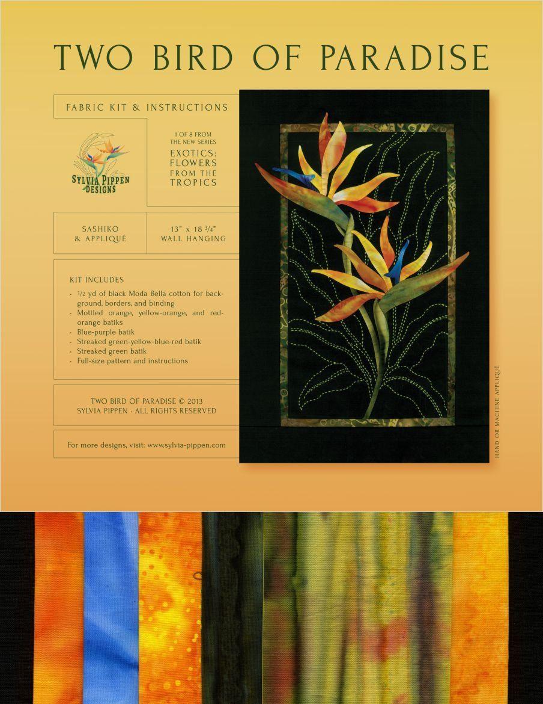 BIRD PARADISE Quilt Pattern Orange Tropical Flowers Needle Turn Hand Applique
