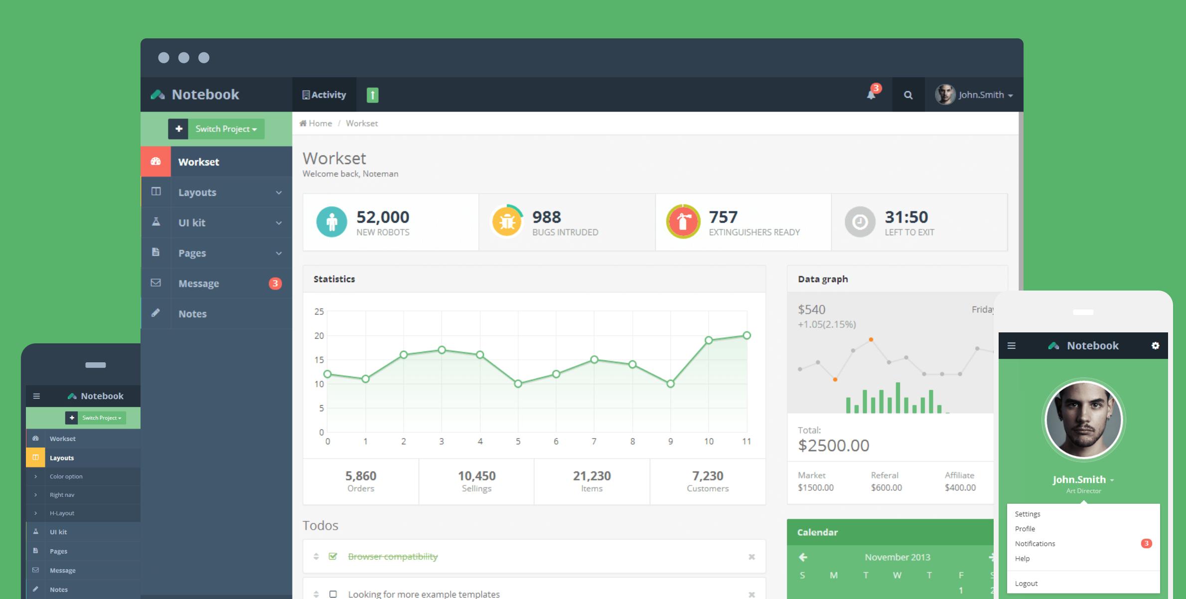 Notebook Web App and Admin Template