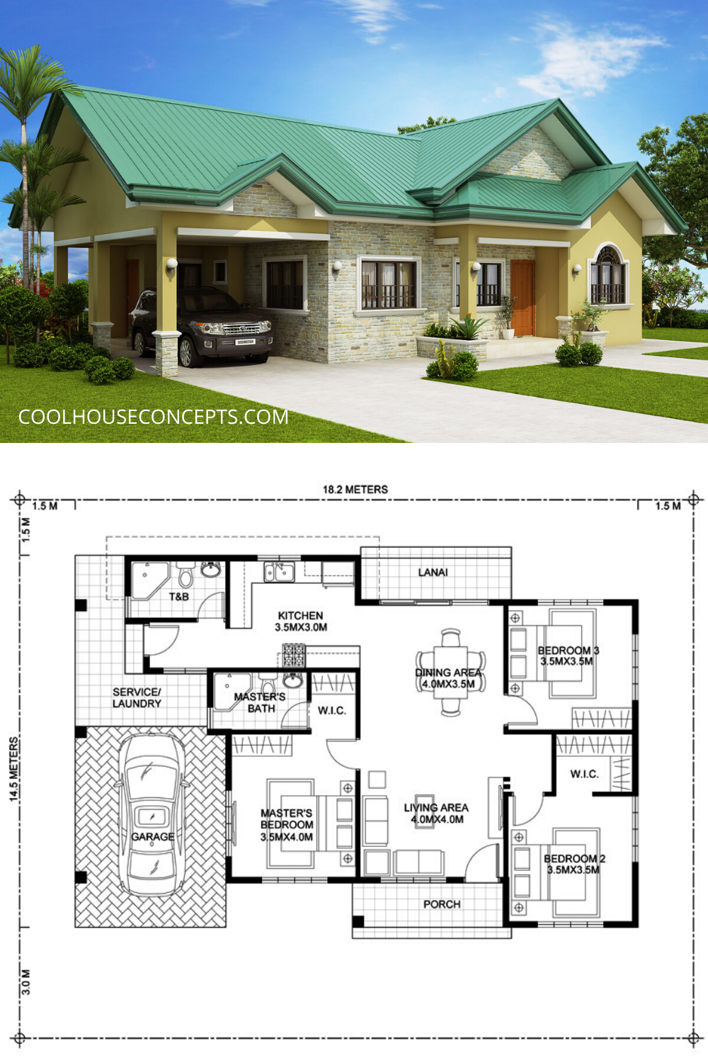 Charming Green Roof Bungalow House Concept In 2020 Model House Plan Beautiful House Plans My House Plans