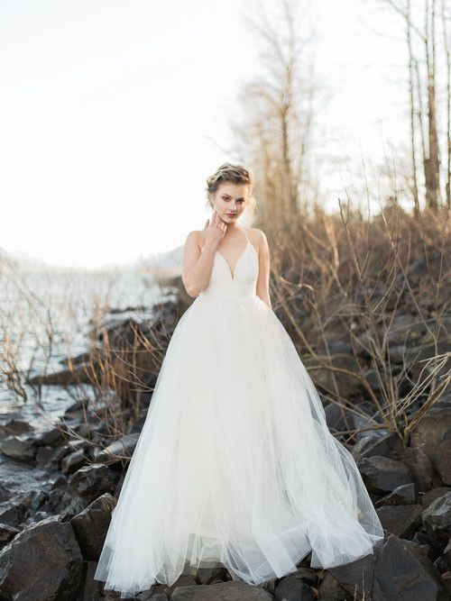 Spaghetti Strap Country Wedding Dress