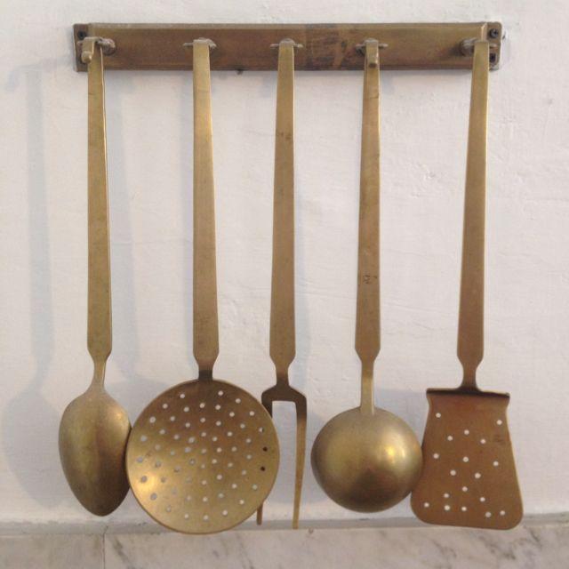 Set Of 5 Vintage Brass Kitchen Utensils With Brass Hanging Rack