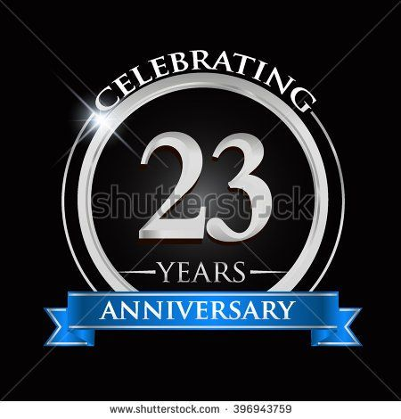 Celebrating 23 years anniversary logo. with silver ring and blue ribbon. - stock vector