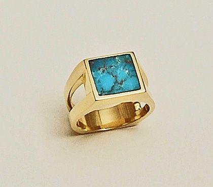 Turquoise Mens Ring 14 karat yellow gold Southwest Originals