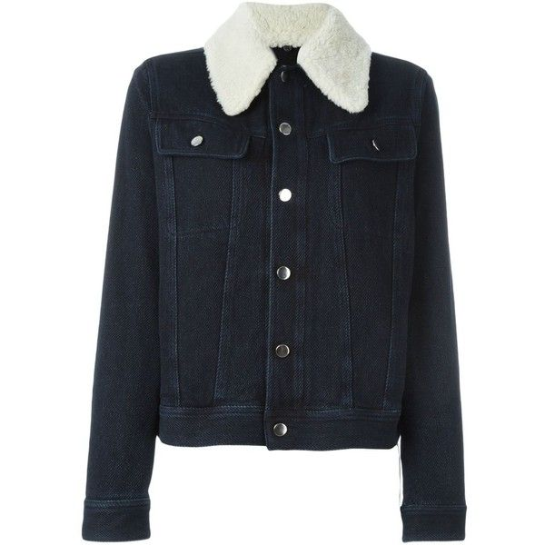 Mm6 Maison Margiela shearling collar denim jacket (2.005 BRL) ❤ liked on Polyvore featuring outerwear, jackets, blue, blue jean jacket, jean jacket, long sleeve jean jacket, denim jacket and blue denim jacket