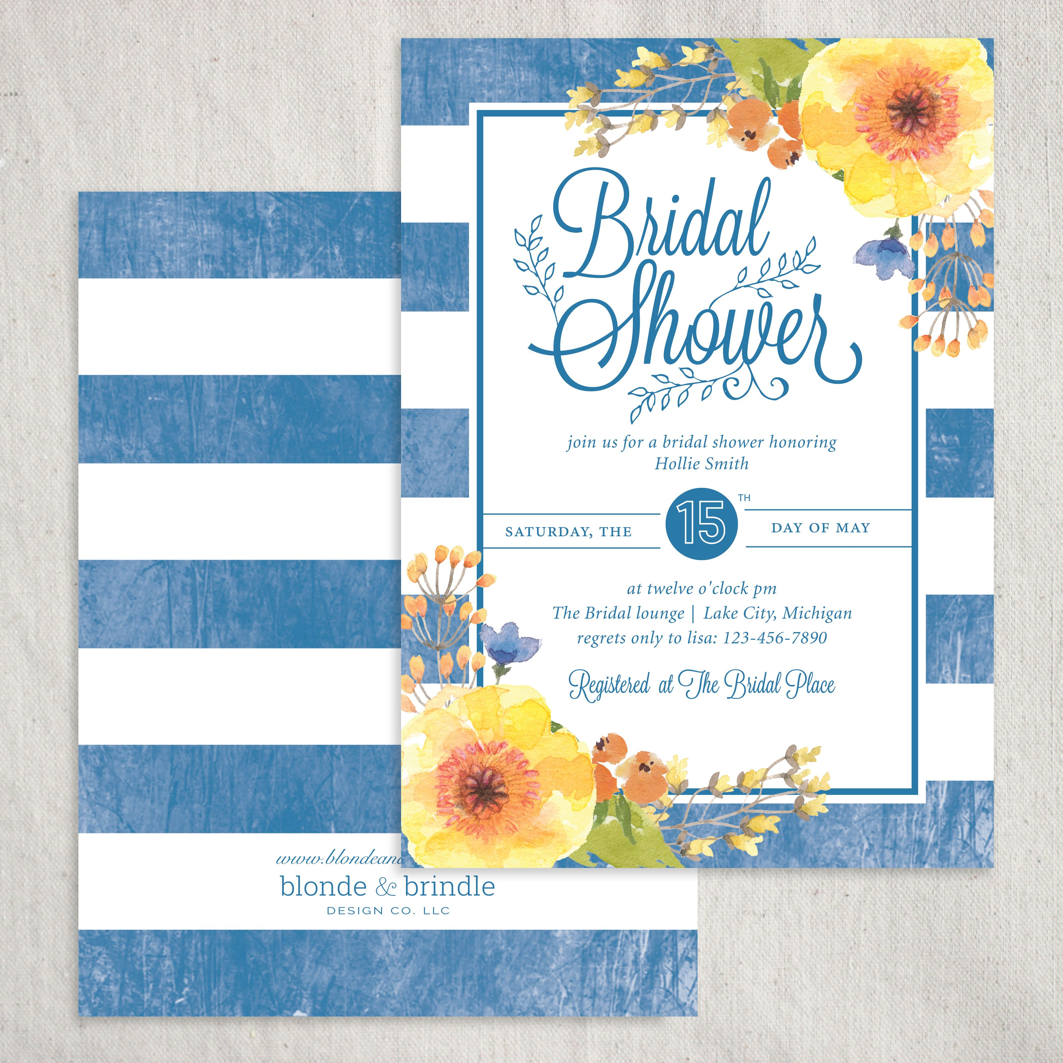 Beautiful bridal shower invitation featuring bold, blue stripes with complimentary, delicate, yellow flowers.