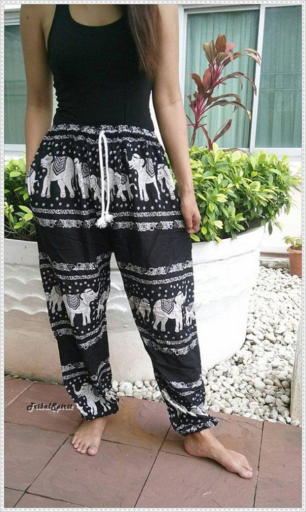 Photo of Pantaloni da yoga unisex con stampa elefante nero Baggy Boho Style Gypsy Tribal Hipster Plus …