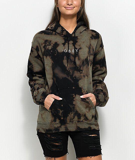 8d889fb86b1fa Obey Novel Bleached Black Hoodie in 2019   Hoodies   Fashion ...