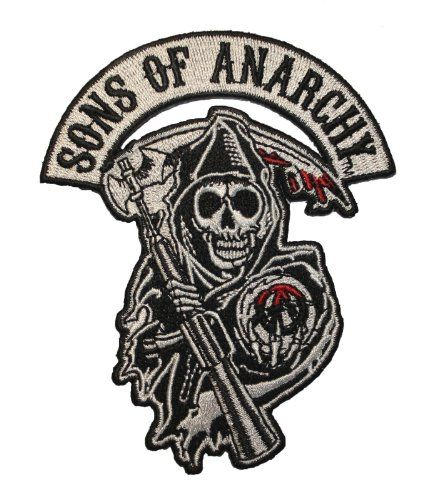 Sons Of Anarchy Grim Reaper Logo Biker Embroidered Iron On Applique Patch Sons Of Anarchy Iron On Applique Applique Patch