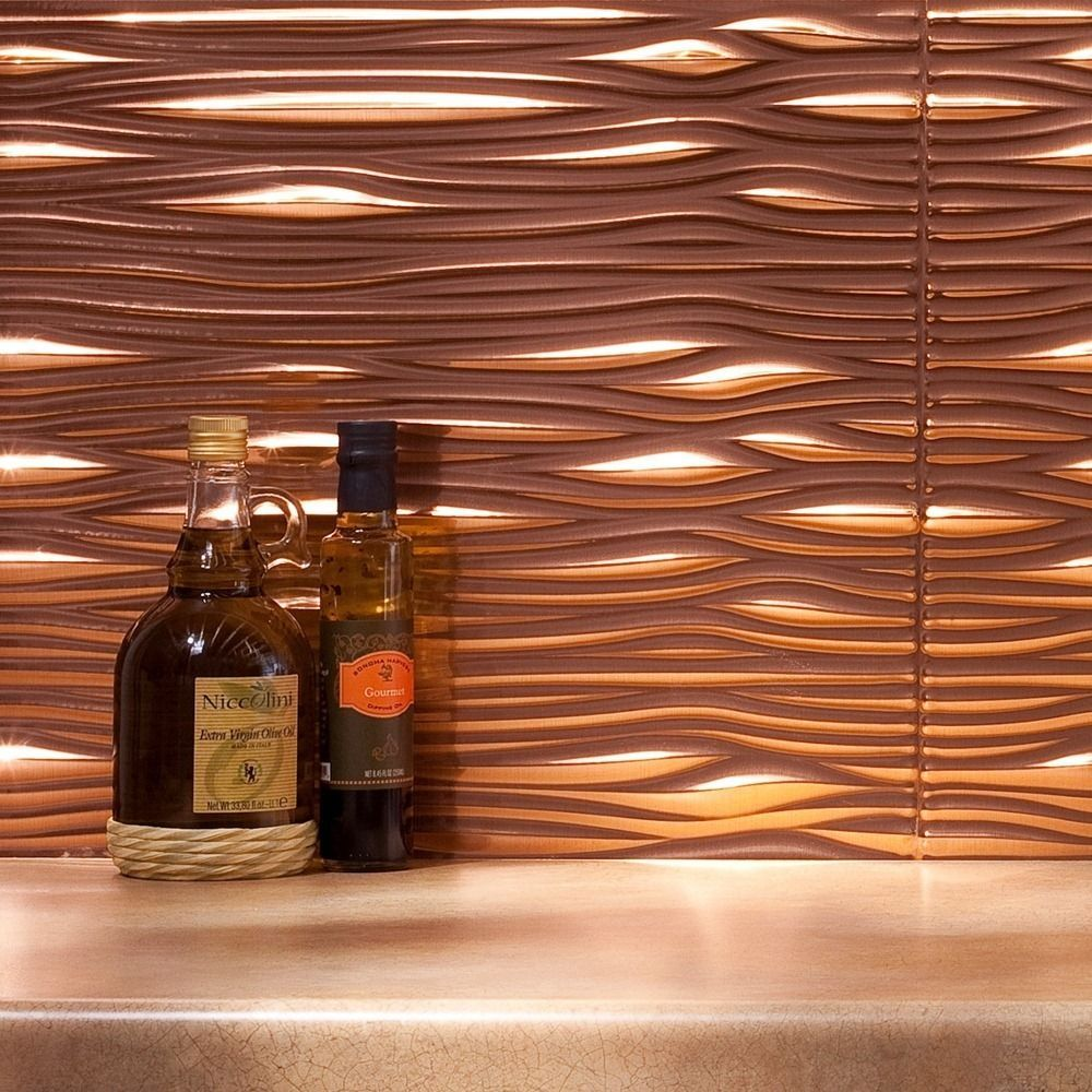 Fasade Waves Polished Copper 18 in x 24 in Backsplash Panel by