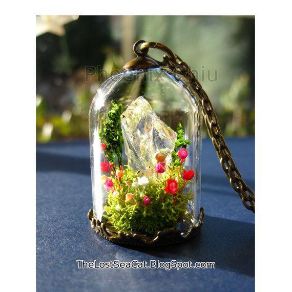 Diamond terrarium necklace April Birthstone by phoenixchiu on Etsy