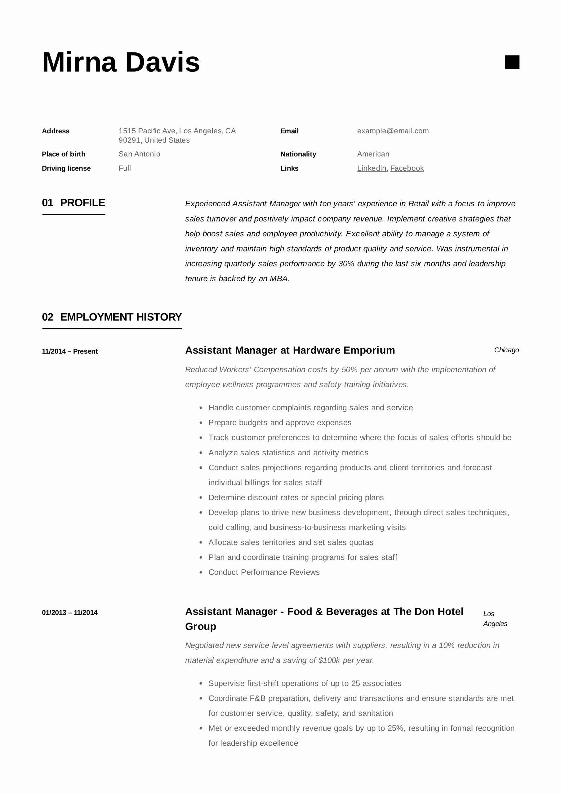 Assistant manager job description resume luxury assistant
