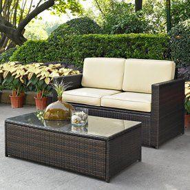 Crosley Furniture Palm Harbor 2-Piece Wicker Patio Conversation Set Ko
