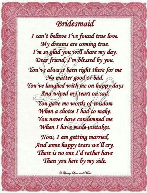 Thankyou Poem To Bridesmaid