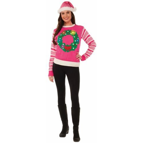 pink light up wreath womens ugly christmas sweater large walmartcom - Ugly Christmas Sweaters At Walmart