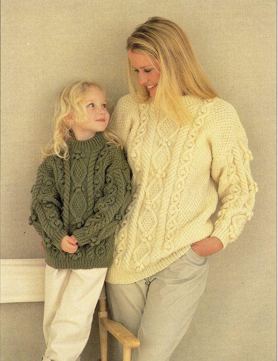 Womens Aran Sweater Knitting Pattern Pdf Download Ladies Girls Aran