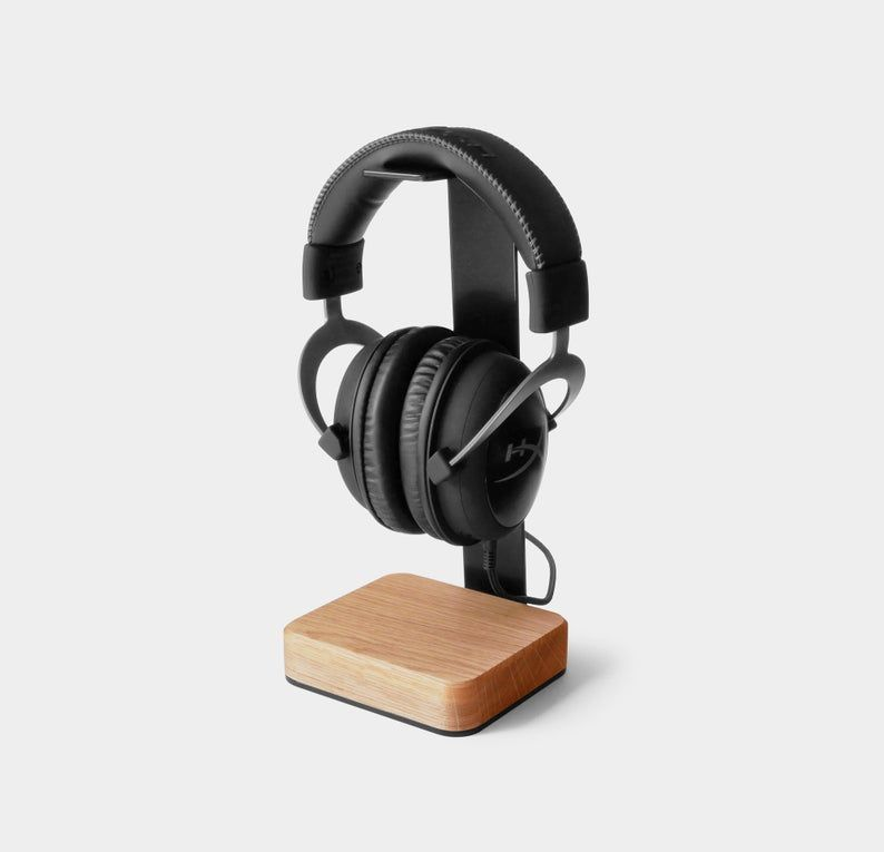 Headphone Stand Wood Wood Headphone Holder Makes Great Gift Etsy In 2020 Wood Headphones Headphone Stands Headset Stand