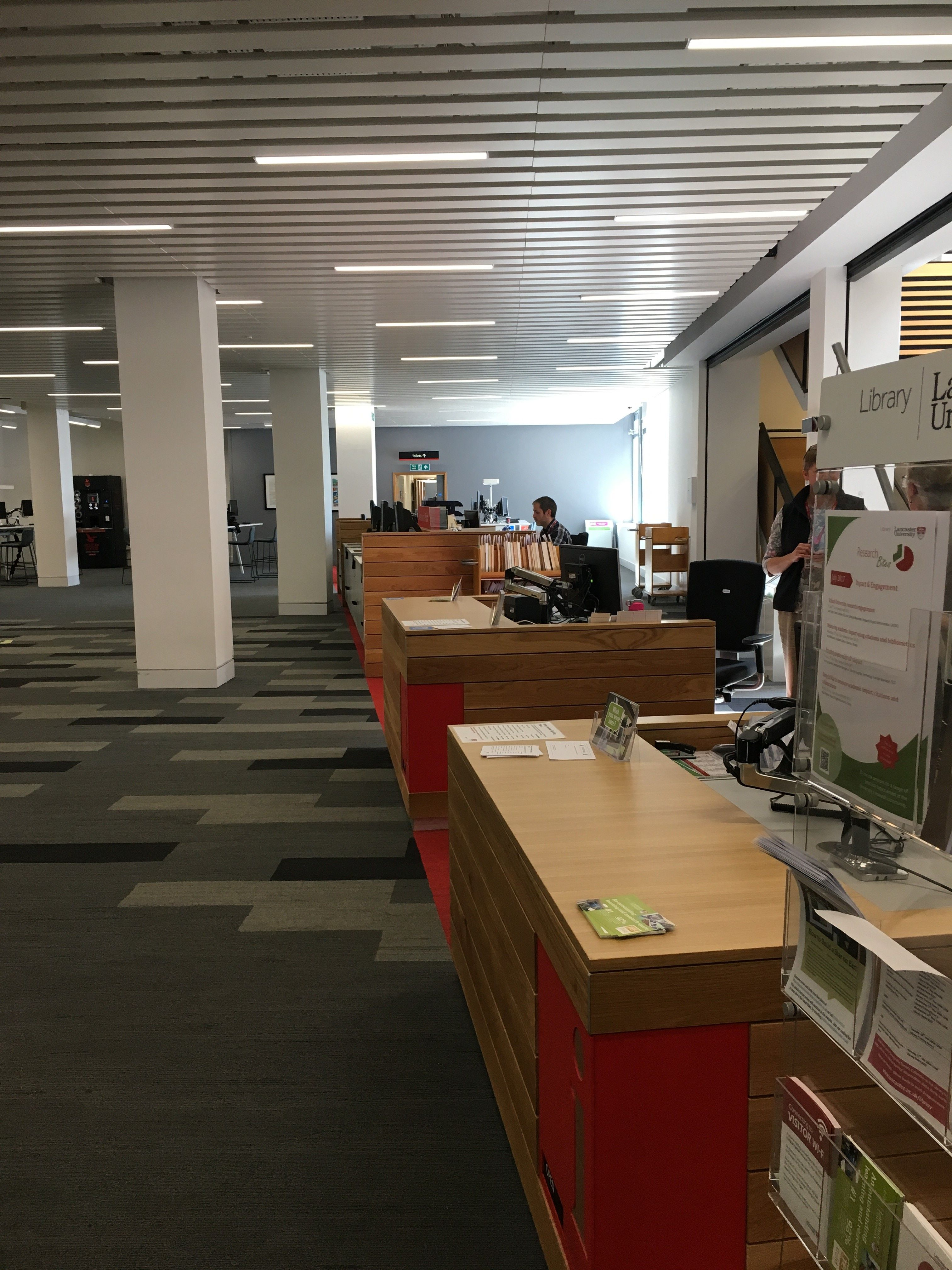 Lancaster Library Staff Desks Self Service Area which is also