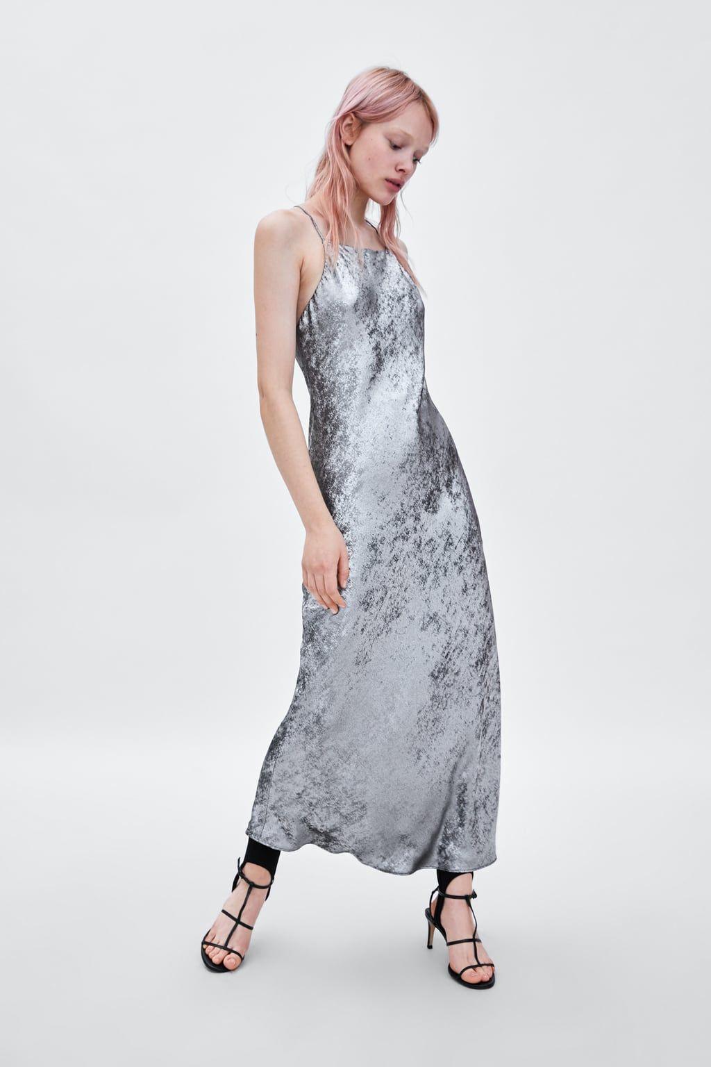 Image 1 of LONG METALLIC DRESS from Zara | Zara | Dresses ...
