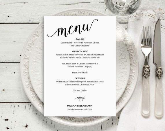 Wedding Menu Template Wedding Menu Printable Menu Card Diy Menu